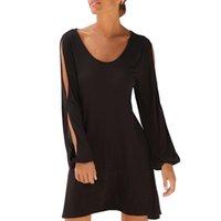 schwarze ausgeschnittene lange kleider großhandel-Frauen schwarz casual dress rundhals ausschnitt langarm solide dress lose sommer strand dress #rn