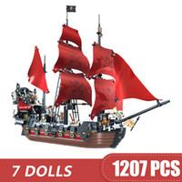 ingrosso piccoli blocchi giocattolo-1207 PZ Piccoli Blocchi Giocattoli Compatibili Legoe Caraibi La Nave della Vendetta della Regina Anna Pirati Regalo per ragazze ragazzi bambini FAI DA TE
