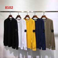 schwarze langarm muskel t-shirts großhandel-Der Entwerfer-T-Shirts der neuen Männer Herbst-Winter-Mann-lange Hülse Hoodie-Hip Hop-Sweatshirts Strickjacke-Inselstrickjacke M-2XL 8102 5colors der beiläufigen Kleidung