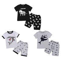 Wholesale dinosaur baby t shirt resale online - Boy Baby Shark Set Raglan Sleeve Tops Kids Designer Clothes Toddler Boy Casual Outfits Clothes Cartoon Dinosaur T Shirt Shorts Set