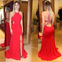 Wholesale white beaded split prom dress for sale - Group buy 2019 Sexy Sparkly red Prom Dresses Long halter neck Side Split sweep train beaded Criss Cross Straps Formal Dresses Party Evening Gowns