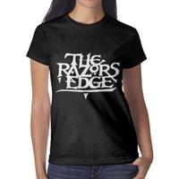 diseño gráfico clásico al por mayor-ACDC the pazors edge banda de rock Womans Top Classic Running Band T Shirt Design Crew Neck Shirts Womans Graphic T Shirts