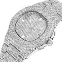 oval relógios homens venda por atacado-Novo Diamante de Luxo Mulheres Senhora Relógios Moda Calendário Mens Relógios de Quartzo Relógios De Pulso De Aço Inoxidável Homens Assista Atacado