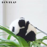 Wholesale giant pandas toys online - HowPlay Giant Panda Plush Keychains cute Panda bag Accessories Animal plush toys lovely gift Australian imported mink hair