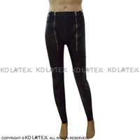 sexy schwarze lochgamaschen großhandel-Schwarze Sexy Latex-Leggings mit Reißverschlüssen und Knöpfen Offene Löcher Lange Gummihosen Jeans Hosen Bottoms 0053