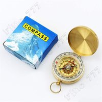 Wholesale pure watches resale online - Pure copper clamshell compass with luminous pocket watch compass portable outdoor multi function metal measuring ruler tool