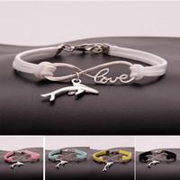 Wholesale infinity bracelets resale online - New metal Animal dolphin charm bracelets women infinity Love Velvet String Rope warp Bangle For Men s simple Jewelry in Bulk