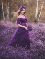 púrpura azul vestidos de dama de tul al por mayor-