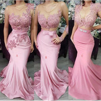 Wholesale dresses evening party gowns long resale online - Fashion Blush Pink Lace Satin Long Mermaid Prom Dresses Long Sleeve Junior Party Gowns Maid of Honor Dresses With Bow Evening Gowns BC2523