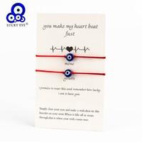 ingrosso gioielli male blu occhio-Lucky Eye Blue Evil Eye Charms Bracelet Red String Thread Rope Couple Bracelet Wish Card Gioielli per donna Uomo Regolabile CN219