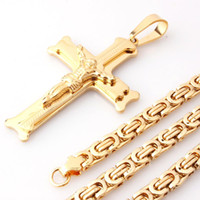 """18-40/""""Stainless Steel 9mm Gold//Silver Box Chain Necklace JESUS Cross Pendant*J28"""