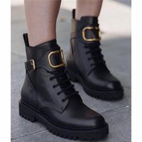 Wholesale combat boots womens for sale - Group buy autumn design Women Winter calfskin leather combat boot Womens Martin Ankle high panelled buffed leather boots in black come with Box