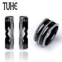 ingrosso cristallo bianco 5mm-Set di orecchini di gioielli in bianco nero Anello di orecchini in acciaio inossidabile 316 Set di orecchini di cristallo 5MM rotondo per le donne anniversario regalo d'amore