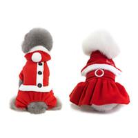 erkek köpek kıyafeti toptan satış-2 Türleri Noel Pet Köpek Giyim Kostüm Prenses Elbise Şapka Giyim Yavru Sıcak Kış Pet Köpek Için Hoodie Köpek Kız Kedi S-XXL