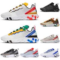 cáscara amarilla al por mayor-2019 nike Designer React Element 55 87 zapatillas de correr hombres mujeres triple negro Royal Tint VOLT RACER PINK Antracita para hombre zapatillas deportivas