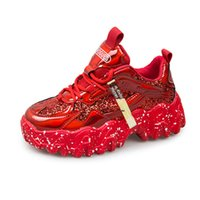 iri ayakkabı toptan satış-Ins Hot Big Wave Glitter Chunky Sneakers Women Spring 2020 Fashion Laser Bling Woman Platform Shoes Tenis Feminino Red Silver Y200424