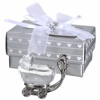 сувенир с кристаллами для детей оптовых-Индийский Кристалл Baby Shower Сувениры Подарки для Гостей Кристалл Детские Коляски Подарок Партии Сувениры Детские Сувениры EEA405