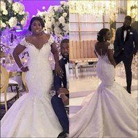 Wholesale organza african dresses for sale - Group buy 2019 new African Plus Size Mermaid Wedding Dresses v neck Off Shoulder Lace Appliques Beaded Satin Wedding Dress Bridal Gowns Custom Made