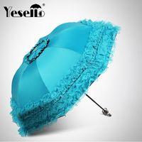 blaue geschenke für mädchen großhandel-Doppelschicht Regenschirme Frauen Hochzeit Sonnenschirm Großes Geschenk Mädchen Regenschirm Durchsichtigen Regenschirm Sonne Regen Prinzessin Blau 50Ry089