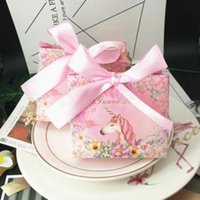 Wholesale gravure printing wrapping paper for sale - Group buy unicorn gift box party Favors Bomboniera birthday bow marble bowknot Candy Boxes wedding gift package With Ribbons AAA1597