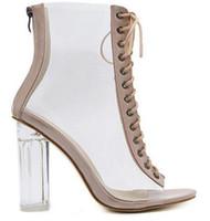 sandales talons mignonnes talons talons achat en gros de-Sandales de filles célèbres chaussures d'été transparente Sandale à talons hauts de la jeune fille mignonne super star Euro USA populaire Party Booty Chaussures