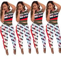 moda moda conjuntos venda por atacado-Mulheres Corrugated Lace Agasalho F Letras de Manga Curta Colheita Tops + Calças 2 Peça Set Moda Moda Street Suit Club Party Outfits Novo C5803