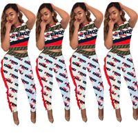 ingrosso moda alla moda-Tuta di pizzo ondulato donne F lettere manica corta crop top + pantaloni 2 pezzi set moda Street Fashion Suit Club Party Outfits Nuovo C5803