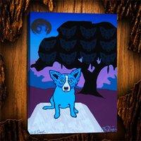 mavi ağaç boyama toptan satış-Ağaçlarda Mavi Köpek Ruhları - Bölünmüş Yazı Leylak, 1 Parça Tuval Baskılar Duvar Sanatı Yağlıboya Ev Dekor (çerçevesiz / Çerçeveli)