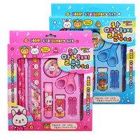 Wholesale pink blue school supplies boxes for sale - Group buy Kids Stationery Pencil Set Creative Back To School Student Supplies Gift Box Gift Prize Bear Bunny Pencil Sharpener Eraser Gift Set