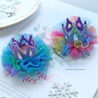 prenses taç yayı toptan satış-Gradyan Rengi Starry Saç Yaylar Glitter Crown Princess Şapkalar Gökkuşağı Mesh Parti Dans Headdress Saç Aksesuarları Klip