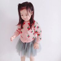 Wholesale strawberry baby girl clothes for sale - Group buy 2019 autumn winter BABY GIRL CLOTHES GIRLS strawberry sweaters girls Cardigan VETEMENT ENFANT CLOTHING VESTIDOS THICK