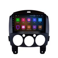 mazda araba dvd gps navigasyon radyo toptan satış-Android 9.0 9 Inç HD Dokunmatik Ekran Araba Radyo GPS Navigasyon 2007-2014 için Mazda 2 ile Bluetooth USB WIFI destek Araba dvd Uzaktan Kumanda