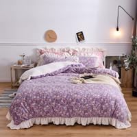 Wholesale girl bedding ruffled resale online - New Luxury Winter Warm Velvet Fleece Flannel Flowers Printing Princess Girl Bedding set Duvet Cover Bed Linen Sheet Pillowcases