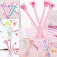 pluma rosa kawaii al por mayor-Crystal estacionario cosa Fun School cerdo lindo del flamenco de Kawaii pluma de gel de Corea de papelería regalo rosa Material de la piña Productos Bt
