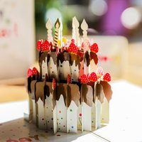 Wholesale birthday cake pop up for sale - Group buy 3D Pop Up Birthday Card dreamy cake Shape Greeting card for mother day handmade Greeting Cards For Party Decoration CP41