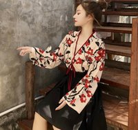 ingrosso cravatte cinesi-2019 Han elemento migliorato Hanfu stile cinese cravatta femminile kimono + gonna a pieghe gonna alta