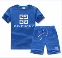 çocuk s t gömlek toptan satış-Bebek Erkek Ve Kız Tasarımcı T-Shirt Ve Şort Takım Marka Eşofman 2 Çocuk Giyim Seti Sıcak Satmak Moda Yaz çocuk T52468
