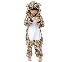 tier-pyjamas für kinder großhandel-Kinder Pyjamas Kinder Winter Cosplay Leopard Pijama infantil Kinder Mädchen Junge Weihnachten Pyjama Tier Kind Strampelanzug