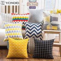 ingrosso cuscini di lino blu-Fodera per cuscino geometrica colorata Fodera per cuscino in cotone geometrico Fodera per cuscino in cotone 45x45cm D19010902