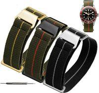pulseiras de nylon pulseiras de relógio 22mm venda por atacado-1 pcs 20mm 21mm 22mm Francês Tropas Parachute Bag Para OTAN Cinto de Nylon Elastic Geral Marcas Wacthband Pulseira Relógio Pulseira Militar