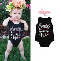 ingrosso ragazze mamas-Neonato 2 pezzi vestiti della neonata mama mini me Tuta + fascia Tuta Abiti tute tuta vestiti per le neonate
