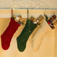 Wholesale long christmas ornaments for sale - Group buy Christmas Party Knitted Stocking Hanging Crochet Socks Tree Ornament Decor Crochet Hosiery Knitted Xmas Socks Gift Bags Candy Bag LJJA2716
