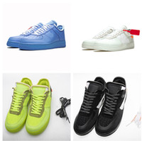 Wholesale plastic solid resale online - With Box Force Off MCA Blue White Red Metallic Silver Men Casual Shoes Volt Low Black And Green Designer Shoes With Box