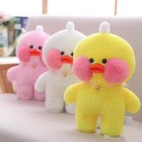 mini bebek video toptan satış-20 CM 30 CM INS Kawaii Cafe Mimi Sarı Ördek Peluş Oyuncak Sevimli Dolması Doll Yumuşak Hayvan Bebekler Çocuk Oyuncakları Doğum Günü Hediyesi için çocuk oyuncakları