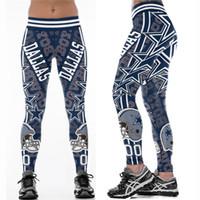 sıkı kemer toptan satış-Çok Renkli Kadın Tayt Dallas Cowboys baskılı yüksek bel geniş kemer koşu spor tayt yoga pantolon S-4XL