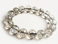 cristal rutilado venda por atacado-Frete Grátis Natural black Quartz crystal rutilated beads pulseira de 13mm
