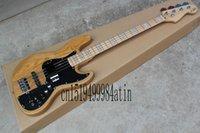bas gitar pikapları toptan satış-Ücretsiz alışveriş fabrika özel caz doğal ahşap Sunburst 4 strings elektrik bas gitar ile 9 V Pil aktif manyetikler