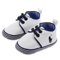zapatillas de lona con cordones de bebé al por mayor-Zapatos de bebé Suela suave Lienzo Recién nacidos Niños Niñas con cordones Zapatos para caminar primero Zapatillas de deporte Prewalker infantiles