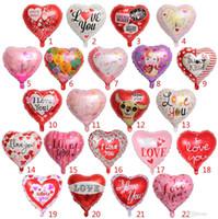 kalp şeklinde folyo balonları toptan satış-Parti Balonlar şişme düğün parti balon süslemeleri 18 Inç kalp şekli helyum folyo balonlar Parti Balonları