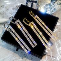 blauer zirkon ohrstecker großhandel-Luxus Weibliche Lange Kristall Zirkon Ohrringe Mode Silber Gold Blau Ohrstecker Für Frauen Europäische Große Doppel